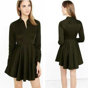 Express green fit & flare long sleeve POCKET dress